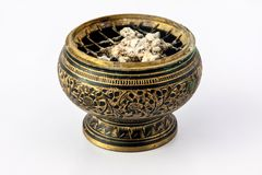 Incense burner. Made ​​of brass with brass mesh royalty free stock photos
