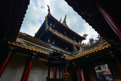Incense burner and courtyard at Beigang Chaotian Temple, one of Taiwan`s most important Mazu te Stock Images