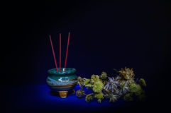 Incense burner with flower-still life Royalty Free Stock Photo