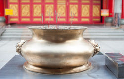Incense burner in front of a Chinese temple Stock Images