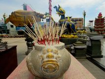 Incense burner-Incense stick and smoke. Pay homage Of Thai Buddhists Royalty Free Stock Photos