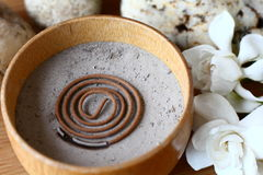 Incense burner. The wooden bowl burning incense and gardenia Stock Photos