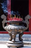 Incense burning. Outside a Confucian temple in Hanoi, Vietnam Royalty Free Stock Photography