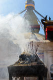 Incense burning at Boudhanath Stock Images