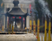Incense burning. Incense sticks burning in a temple Royalty Free Stock Image