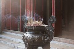 incense burning at the Temple of the Jade Mountain in Hanoi Vietnam royalty free stock image