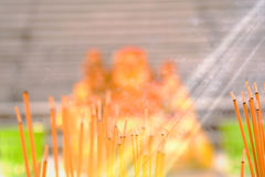 Incense burning at a temple Stock Image