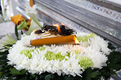 Incense,candle and wood flower for Thai cremation Stock Image