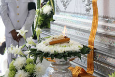 Incense,candle and wood flower for Thai cremation Royalty Free Stock Photography