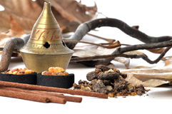 Incense, charcoal and recipient Stock Photos