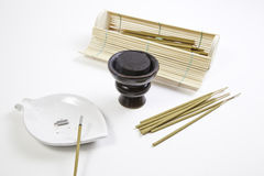 Incense and charcoal in the spa Stock Images