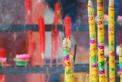 Incense. Chinese temple to pray Hangzhou City, Zhejiang Province, Chinese Canal Cultural Square Royalty Free Stock Images