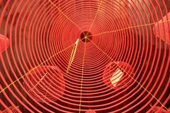 Incense Coil. S hanging from the ceiling in Phuoc Kien Assembly Hall in Hoi An, Vietnam stock photos