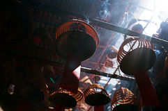 Incense coils, in a Chinese temple, hong kong. Incense coils, a common scene that is found in chinese temple in many countries. This pictures is taken in Hong Stock Photo
