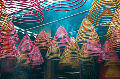 Incense coils hanging in the temple Royalty Free Stock Image