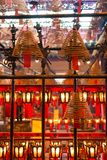 Incense coils and lamps with wishes in Man Mo Temple, Hong Kong. Royalty Free Stock Photos