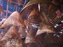 Incense Coils in Man Mo temple, Hong Kong. stock image