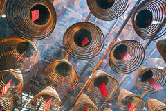 Incense coils in Man Mo Temple, Sheung Wan, Hong Kong Royalty Free Stock Image