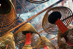Incense coils in Man Mo Temple, Sheung Wan, Hong Kong Stock Images