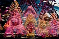 Incense coils at Tin Hau Temple, Yau Ma Tei, Hong Kong Royalty Free Stock Images