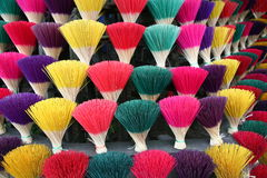 Incense colors. Incense sticks collected in bundles to make offerings in temples Royalty Free Stock Photos