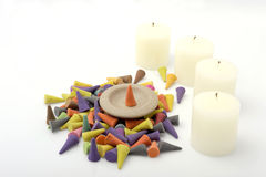 Incense cones with candle. Royalty Free Stock Photos