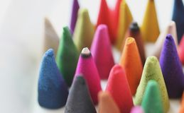 Incense cones is colorful Royalty Free Stock Photo