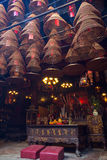 Incense cones at the Man Mo Temple in Tai Po, Hong Kong. Stock Images