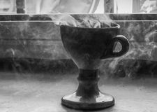 Incense Cup or Chalice in Greek Church with Tourists Walking Pas Stock Image