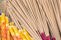 Incense. Division of incense and candles are used to fire worship Stock Photo