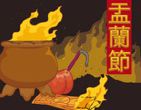 Incense, Fruit and Joss Money Offerings in Hungry Ghost Festival, Vector Illustration. Poster with scene of tradition of offerings, burnt joss money and incense Stock Images