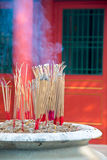 Incense furnace and smoking joss stick Royalty Free Stock Photos