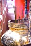 Incense furnace with smoking joss stick Stock Photo