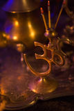 Incense in a Golden stand of Om symbol form and Luxurious gold s Stock Images