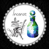 Incense. Health and Nature Collection. Aromatic incense oil (watercolor and graphic illustration Royalty Free Stock Image