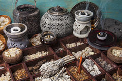 Incense. Image of various kinds of incense: myrrh, frankincense, messer, copaiba, elemi camonya, palo santo, salvia apiana, gowe -thiouraye, borena royalty free stock photo