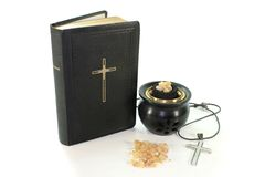 Incense with incense bowl and the Bible Stock Photography
