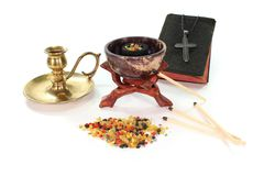 Incense with incense bowl and the Bible Royalty Free Stock Photos