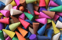 Incense. Cones is colorful, relax and fragrant stock photos