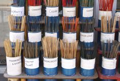 Incense. incense in cups in a store at a market for sale Stock Photography