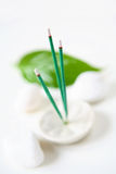 Incense, Leaf and Stones. Incense sticks, leaf, and white stones Royalty Free Stock Photos