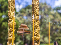 Incense in the local temple. Royalty Free Stock Image
