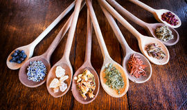 Incense. On old kitchen spoons Stock Photos