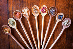 Incense. On old kitchen spoons Royalty Free Stock Photo