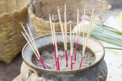 Incense in pot Stock Images