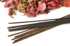 Incense and potpourri. Isolated on white Stock Images
