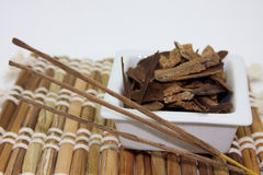 Incense relaxing. Incense and relaxing, bamboo background Royalty Free Stock Photos
