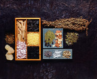 Incense resins. Various incense resins and herbs stock photo