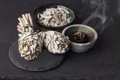 Incense. Of Salvia Apiana White sage, sacred sage, bee sage, california sage stock images