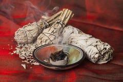Incense of Salvia ApianaWhite Sage stock photos
